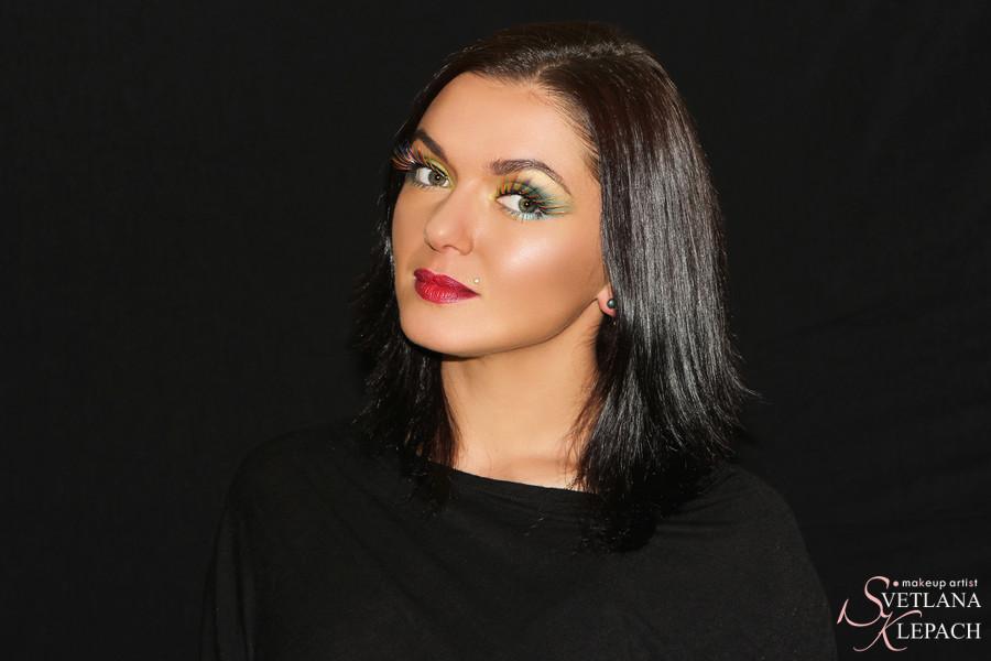Контрастный макияж с радужными ресницами, Работы Светланы Клепач