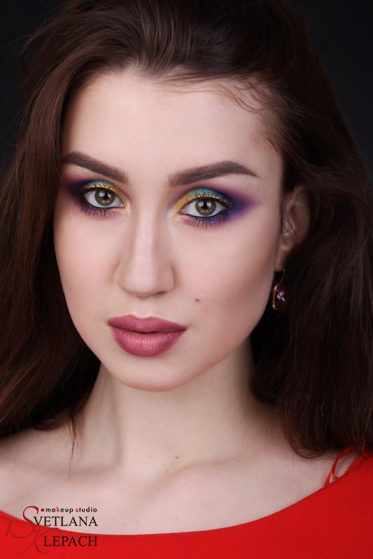 Яркий макияж для фотосессии в акварельной технике с использование пигментов KLEPACH.PRO, Мои работы